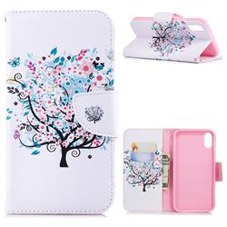 Colorful Tree Leather Wallet Case for iPhone Xr (6.1 inch)