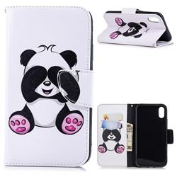 Lovely Panda Leather Wallet Case for iPhone Xr (6.1 inch)