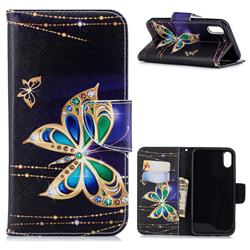 Golden Shining Butterfly Leather Wallet Case for iPhone Xr (6.1 inch)