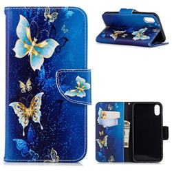 Golden Butterflies Leather Wallet Case for iPhone Xr (6.1 inch)