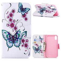 Peach Butterflies Leather Wallet Case for iPhone Xr (6.1 inch)