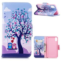 Tree and Owls Leather Wallet Case for iPhone Xr (6.1 inch)