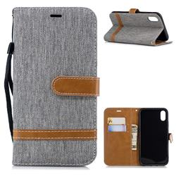 Jeans Cowboy Denim Leather Wallet Case for iPhone Xr (6.1 inch) - Gray