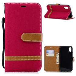 Jeans Cowboy Denim Leather Wallet Case for iPhone Xr (6.1 inch) - Red