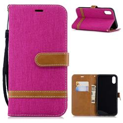 Jeans Cowboy Denim Leather Wallet Case for iPhone Xr (6.1 inch) - Rose