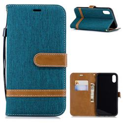 Jeans Cowboy Denim Leather Wallet Case for iPhone Xr (6.1 inch) - Green