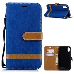 Jeans Cowboy Denim Leather Wallet Case for iPhone Xr (6.1 inch) - Sapphire