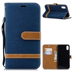 Jeans Cowboy Denim Leather Wallet Case for iPhone Xr (6.1 inch) - Dark Blue