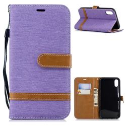Jeans Cowboy Denim Leather Wallet Case for iPhone Xr (6.1 inch) - Purple