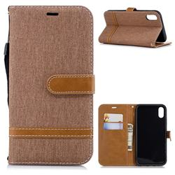 Jeans Cowboy Denim Leather Wallet Case for iPhone Xr (6.1 inch) - Brown