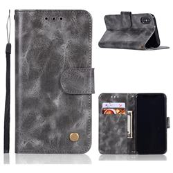 Luxury Retro Leather Wallet Case for iPhone Xr (6.1 inch) - Gray