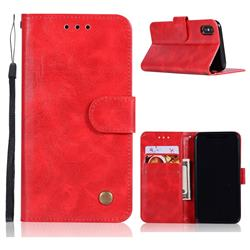 Luxury Retro Leather Wallet Case for iPhone Xr (6.1 inch) - Red