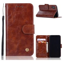 Luxury Retro Leather Wallet Case for iPhone Xr (6.1 inch) - Brown