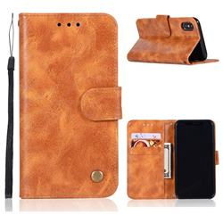 Luxury Retro Leather Wallet Case for iPhone Xr (6.1 inch) - Golden