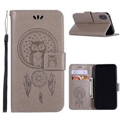 Intricate Embossing Owl Campanula Leather Wallet Case for iPhone Xr (6.1 inch) - Grey