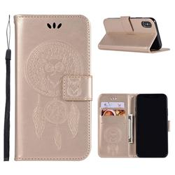 Intricate Embossing Owl Campanula Leather Wallet Case for iPhone Xr (6.1 inch) - Champagne