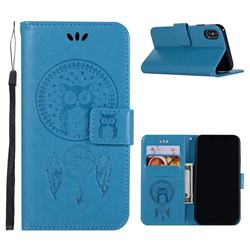 Intricate Embossing Owl Campanula Leather Wallet Case for iPhone Xr (6.1 inch) - Blue