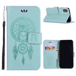 Intricate Embossing Owl Campanula Leather Wallet Case for iPhone Xr (6.1 inch) - Green