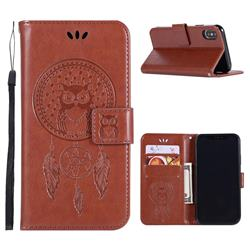 Intricate Embossing Owl Campanula Leather Wallet Case for iPhone Xr (6.1 inch) - Brown