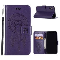 Intricate Embossing Owl Campanula Leather Wallet Case for iPhone Xr (6.1 inch) - Purple