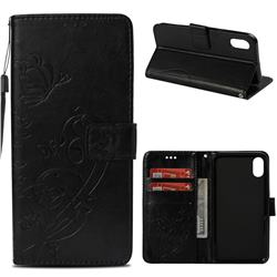 Embossing Butterfly Flower Leather Wallet Case for iPhone Xr (6.1 inch) - Black