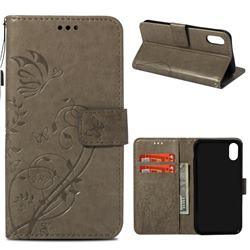 Embossing Butterfly Flower Leather Wallet Case for iPhone Xr (6.1 inch) - Grey