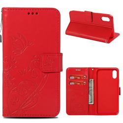 Embossing Butterfly Flower Leather Wallet Case for iPhone Xr (6.1 inch) - Red