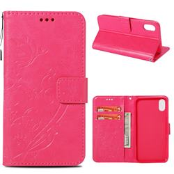 Embossing Butterfly Flower Leather Wallet Case for iPhone Xr (6.1 inch) - Rose