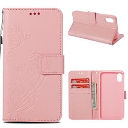 Embossing Butterfly Flower Leather Wallet Case for iPhone Xr (6.1 inch) - Pink