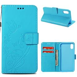 Embossing Butterfly Flower Leather Wallet Case for iPhone Xr (6.1 inch) - Blue