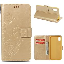 Embossing Butterfly Flower Leather Wallet Case for iPhone Xr (6.1 inch) - Champagne