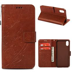 Embossing Butterfly Flower Leather Wallet Case for iPhone Xr (6.1 inch) - Brown