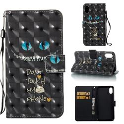 Blue Eye 3D Painted Leather Wallet Case for iPhone Xr (6.1 inch)