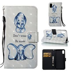 Be Happy Elephant 3D Painted Leather Wallet Case for iPhone Xr (6.1 inch)