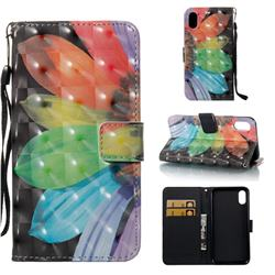 Colorful Sunflower 3D Painted Leather Wallet Case for iPhone Xr (6.1 inch)