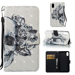 Skull Flower 3D Painted Leather Wallet Case for iPhone Xr (6.1 inch)