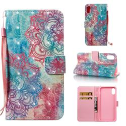 Fire Red Flower 3D Painted Leather Wallet Case for iPhone Xr (6.1 inch)