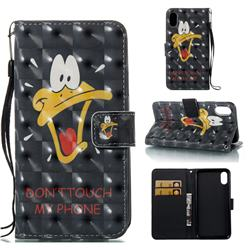 Saliva Duck 3D Painted Leather Wallet Case for iPhone Xr (6.1 inch)