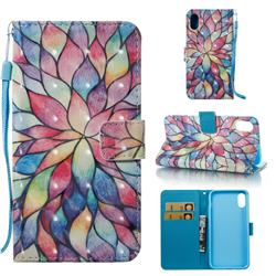Colorful Lotus 3D Painted Leather Wallet Case for iPhone Xr (6.1 inch)