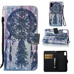 Black Campanula 3D Painted Leather Wallet Case for iPhone Xr (6.1 inch)