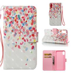 Colored Petals 3D Painted Leather Wallet Case for iPhone Xr (6.1 inch)