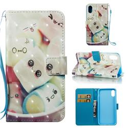 Marshmallow 3D Painted Leather Wallet Case for iPhone Xr (6.1 inch)