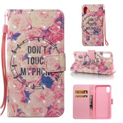 Retro Flowers 3D Painted Leather Wallet Case for iPhone Xr (6.1 inch)