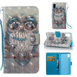 Sweet Gray Owl 3D Painted Leather Wallet Case for iPhone Xr (6.1 inch)