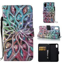 Spreading Flowers 3D Painted Leather Wallet Case for iPhone Xr (6.1 inch)