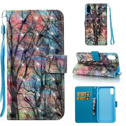 Color Tree 3D Painted Leather Wallet Case for iPhone Xr (6.1 inch)