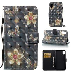 Golden Flower Butterfly 3D Painted Leather Wallet Case for iPhone Xr (6.1 inch)
