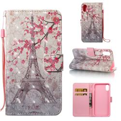 Plum Tower 3D Painted Leather Wallet Case for iPhone Xr (6.1 inch)