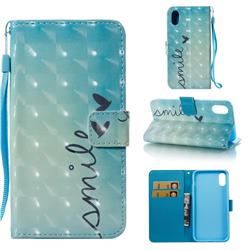 Smile Butterfly 3D Painted Leather Wallet Case for iPhone Xr (6.1 inch)