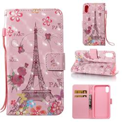 Butterfly Tower 3D Painted Leather Wallet Case for iPhone Xr (6.1 inch)